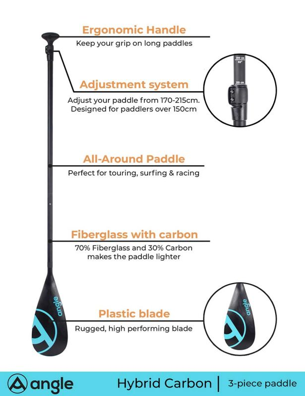 Angle SUP paddle HYBRID CARBON 6 3pc
