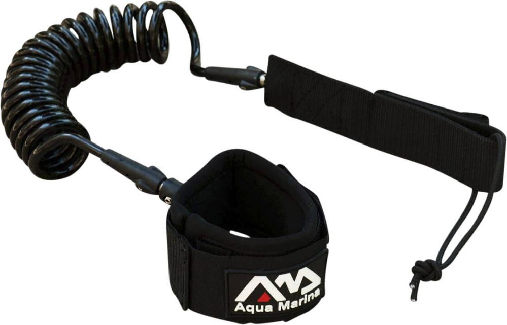 Coiled foot leash for SUP board