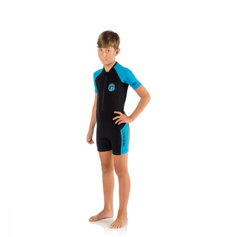 cressi little shark shorty wetsuit 2 mm blue raslsharlblu