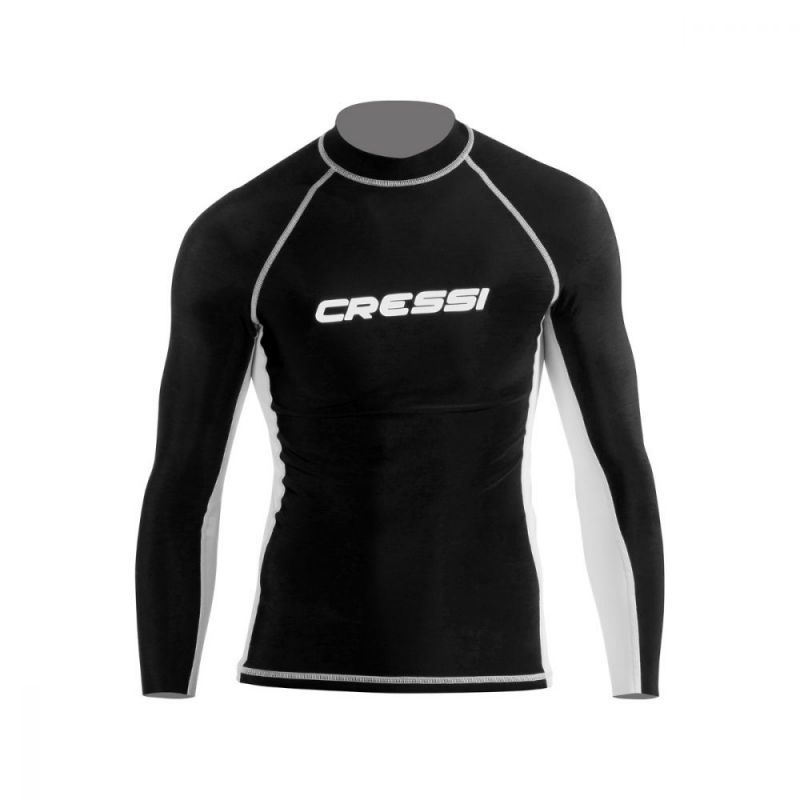 cressi rash guard for men black long sleeve rashmlblk