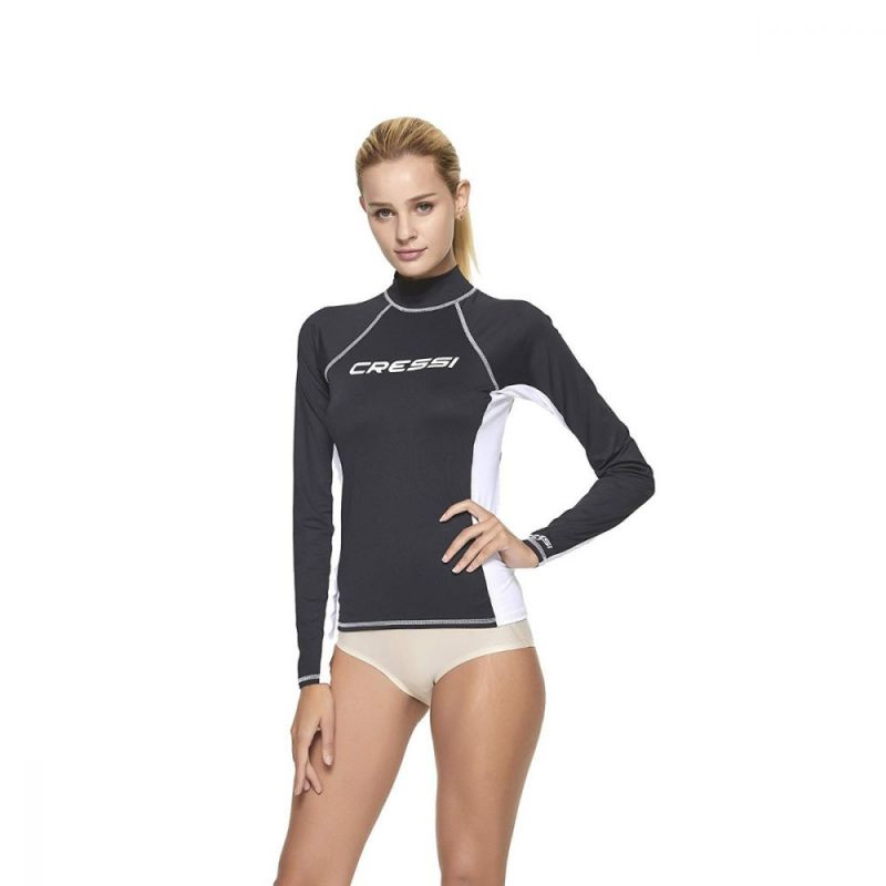 cressi rash guard for women black long sleeve rashflblk