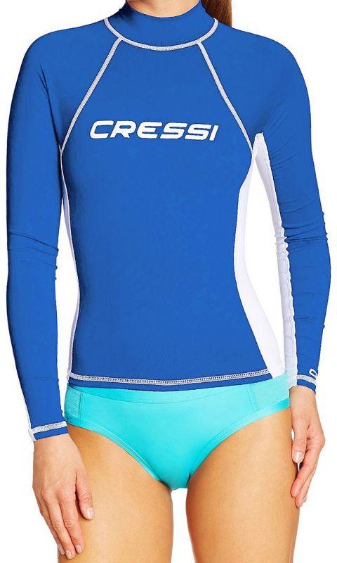 Blue White XS Cressi Long Sleeve Rash Guard Womens