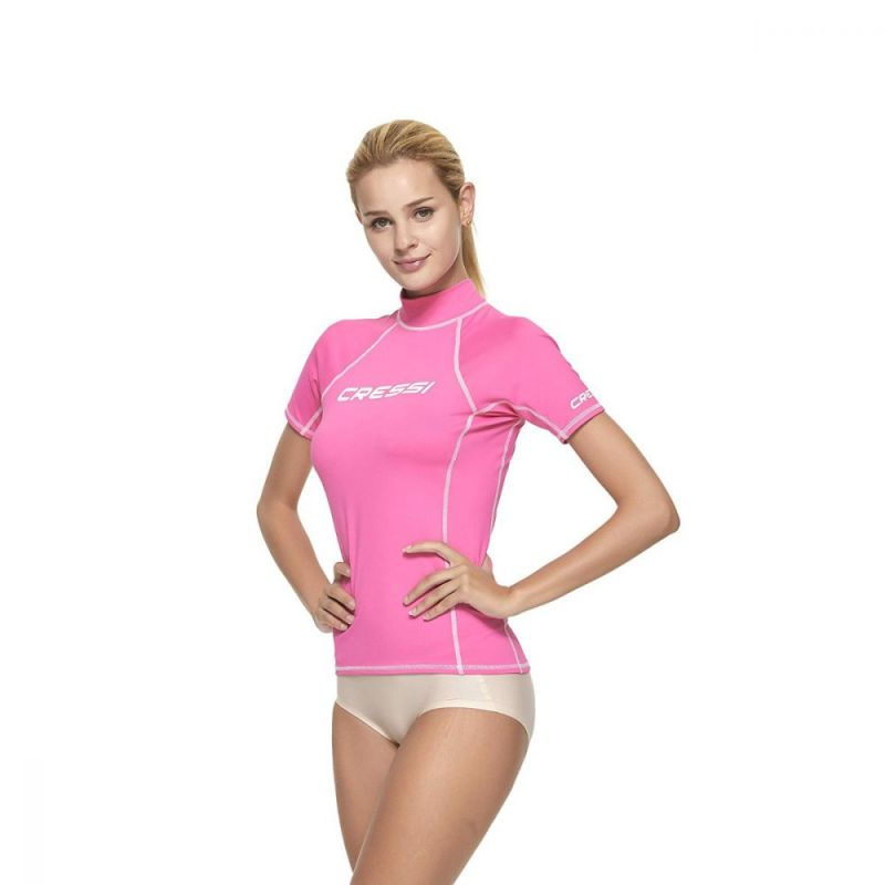 cressi rash guard for women pink short sleeve