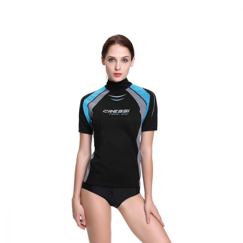 cressi thermo vest guard for women short sleeve black rashfthsblk